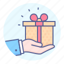 box, gift, gifting, giving, hand, present, present box icon