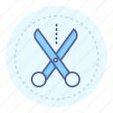 cut out, cutting, dotted line, scissors, shear, snip icon