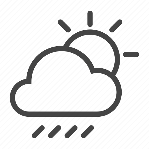cloud, cloudy, forecast, meteo, rain, sun, weather icon