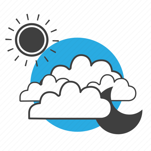 climate, cloud, clouds, forecast, meteorology, moon, nature, night, sky, summer, sun, sunshine, weather icon