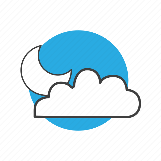 cloud, cloudy, forecast, meteorology, moon, nature, night, sky, temperature, weather icon
