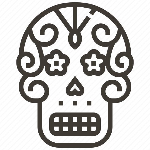 Bone, skull, sugar skull, mexico icon