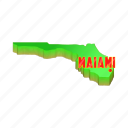 america, cartoon, florida, map, miami, sign, usa