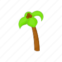 beach, cartoon, coconuts, palm, sign, summer, tree icon