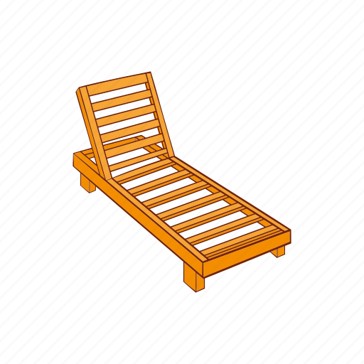 cartoon, chaise, lounge, season, sign, summer, wooden icon