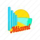 building, cartoon, cityscape, miami, sign, skyline, skyscraper icon