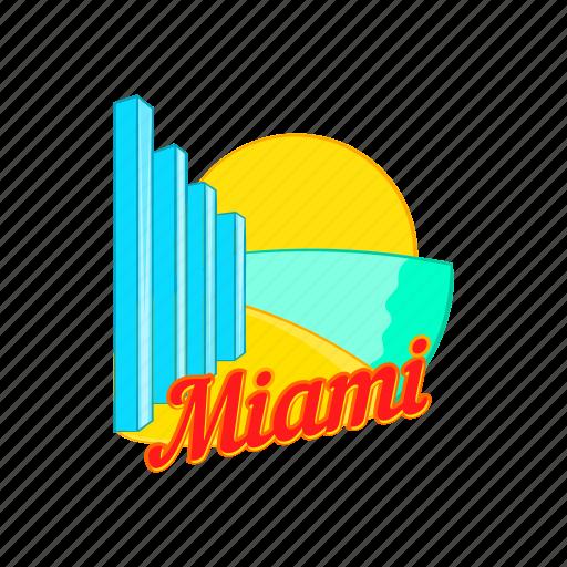 building, cartoon, cityscape, miami, sign, skyline, skyscraper icon