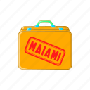 baggage, cartoon, flight, luggage, miami, sign, suitcase icon