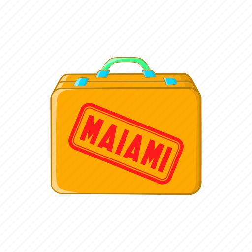 baggage, cartoon, flight, luggage, miami, sign, suitcase icon