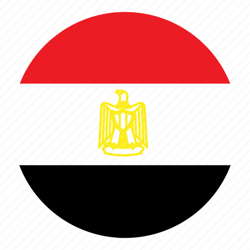 color, country, egypt, flag, middle east, nation, round icon