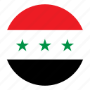 color, country, flag, iraq, middle east, nation, round icon