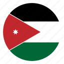 color, country, flag, jordan, middle east, nation, round icon