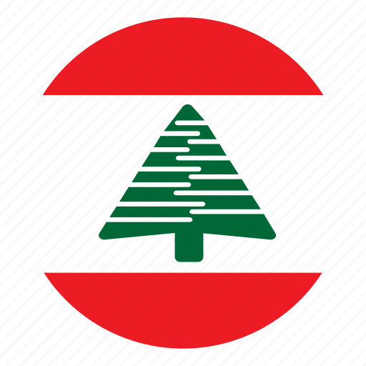 color, country, flag, lebanon, middle east, nation, round icon