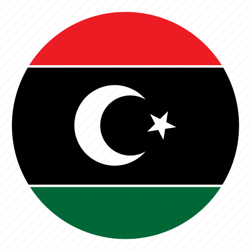 color, country, flag, libya, middle east, nation, round icon