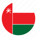 color, country, flag, middle east, nation, oman, round icon