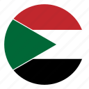 color, country, flag, middle east, nation, round, sudan icon