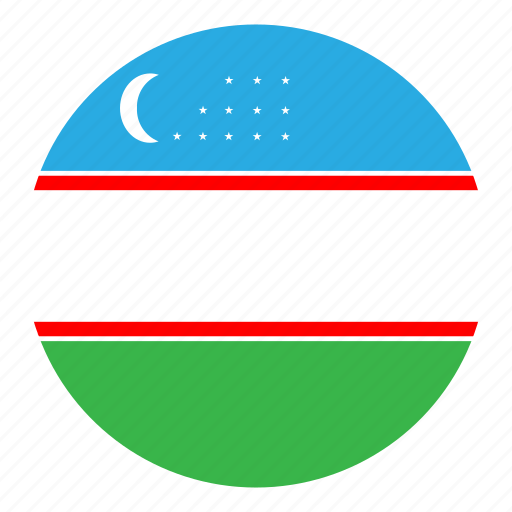 color, country, flag, middle east, nation, round, uzbekistan icon