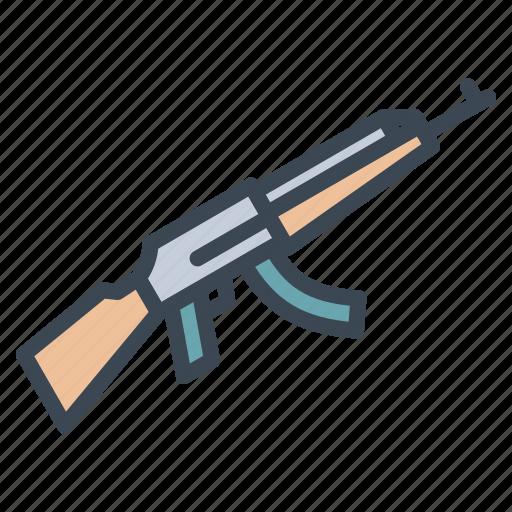 ak47, fire arms, gun, military, weapon icon
