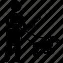 armed man, guard dog, military, policeman, warfare dog icon