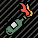 bomb, bottle, fire, terrorist, violence icon