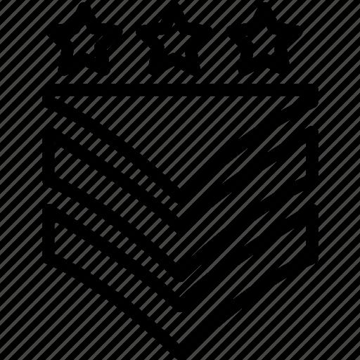 badge, military, rank, stars, stripes, three, two icon