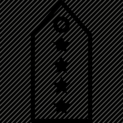 four, military, rank, star, tag icon