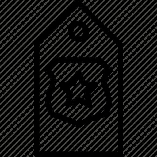 military, rank, shield, star, tag icon