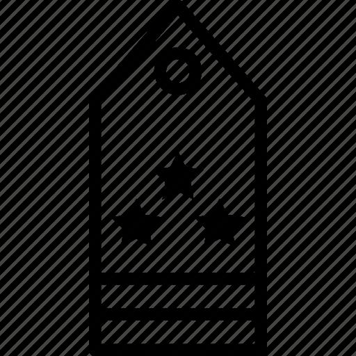 military, rank, star, stripe, tag, three icon