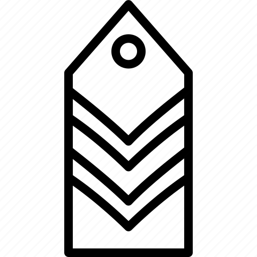 military, rank, stripes, tag, two icon