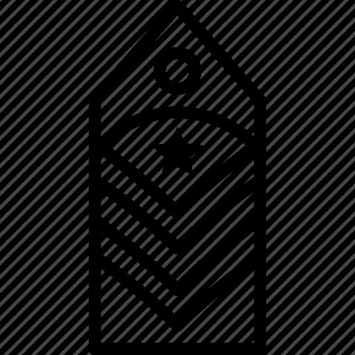 military, rank, star, stripes, tag, two icon