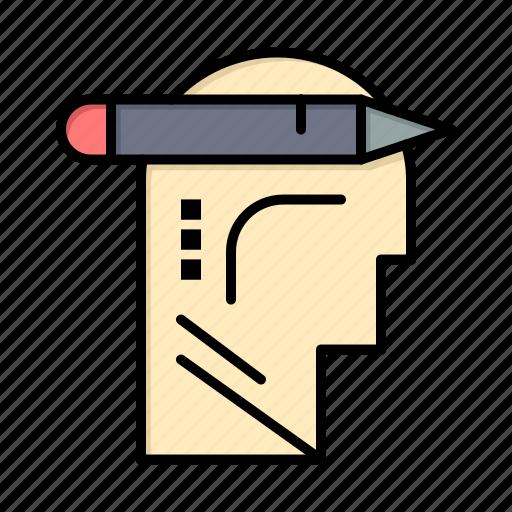 head, mind, thinking, write icon