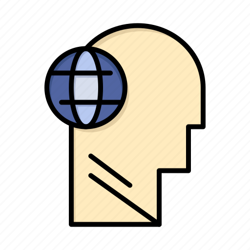 business, globe, head, mind, think icon