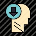 arrow, down, head, human, knowledge icon