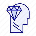 diamond, head, mind, perfection icon