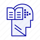 book, head, knowledge, mind icon