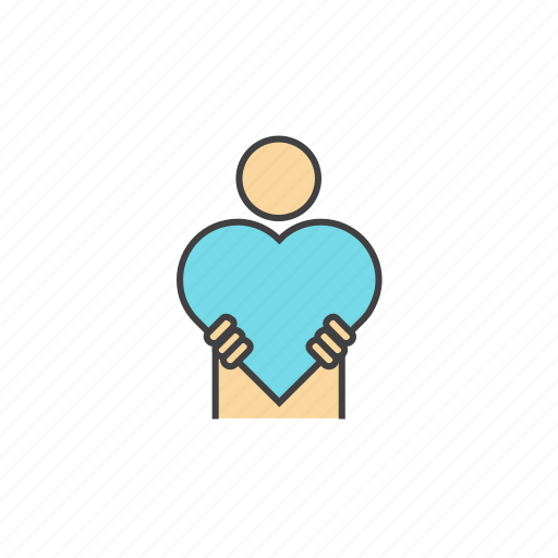 blue, compassion, compassionate, feelings, heart, people, valentine icon