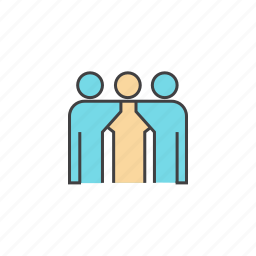 friends, group of friends, line, people, threesome, together, trio icon