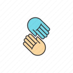 blue, hands, helping, helping hands, join, yellow icon
