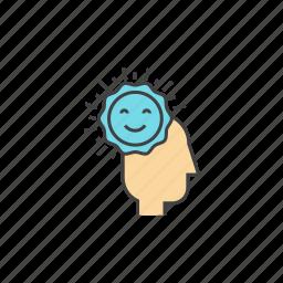 brain, happines, happy feelings, optimism, spirit, sunshine icon