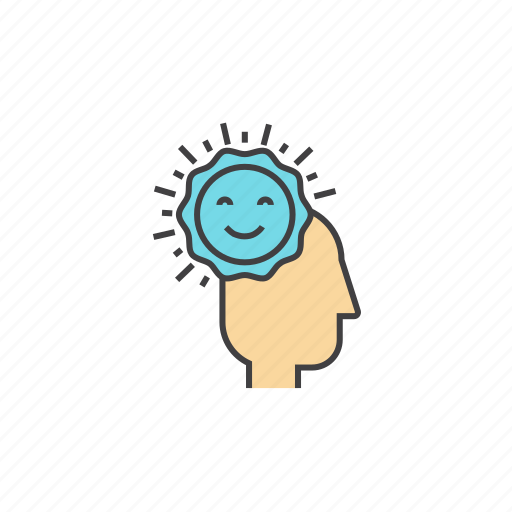 brain, happines, happy feelings, optimism, spirit, sunshine icon
