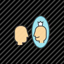 affirmation, mirror, person, self, self affirmation, self esteem icon