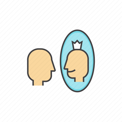 affirmation, mirror, person, self, self affirmation, self esteem icon