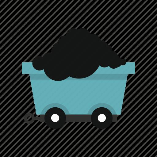 cart, coal, energy, load, transport, wheel, wheels icon