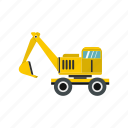 heavy, excavator, work, machine, equipment, mover, digger