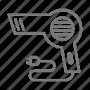 bathroom, blow dryer, blowdryer, hairdryer icon