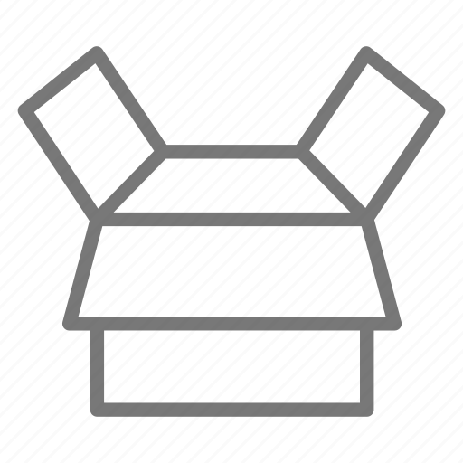 box, cardboard, open, pack, package, ship icon