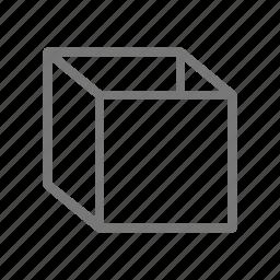 bin, box, cardboard, carton, container, cube, package icon