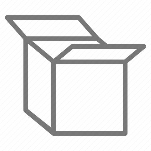 box, cardboard, container, empty, open, packing, ship icon