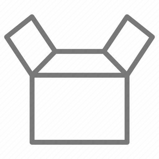 box, cardboard, empty, open, package, packing, ship icon
