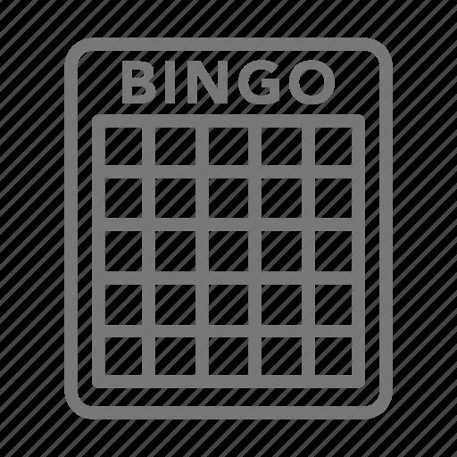 bingo, card, casino, gamble, game, play, row icon